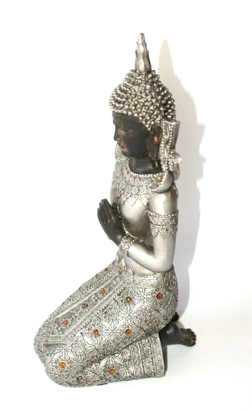 Thai Buddha Budda Figur Tempelwächter Feng Shui Lotussitz Statue Elefant silber